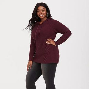 TORRID PURPLE LACE-UP HOODIE KNIT PULLOVER